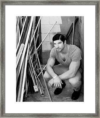 Faubourg Alley Man Bw Framed Print by William Dey