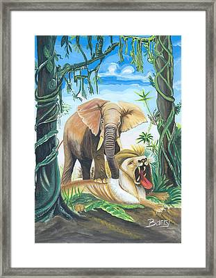 Framed Print featuring the painting Faune D'afrique Centrale 01 by Emmanuel Baliyanga
