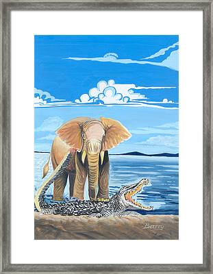 Framed Print featuring the painting Faune D'afrique Centrale 02 by Emmanuel Baliyanga
