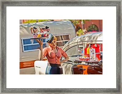 Faux 50's Drive-in Framed Print by Jill Reger