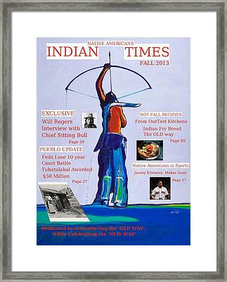 Faux Magazine Cover Native American Indian Times Framed Print