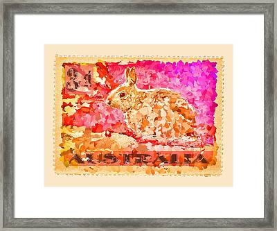 Faux Poste Bunny 3d Framed Print by Carol Leigh
