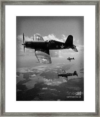 Framed Print featuring the photograph Faux Wwii Corsair Photo by Stephen Roberson