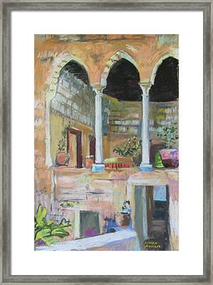 Framed Print featuring the painting Fauzi Azar Mansion by Linda Novick
