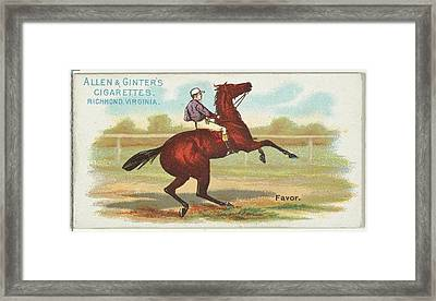 Favor, From The Worlds Racers Series Framed Print by Issued by Allen & Ginter