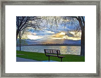 Favorite Bench And Lake View Framed Print