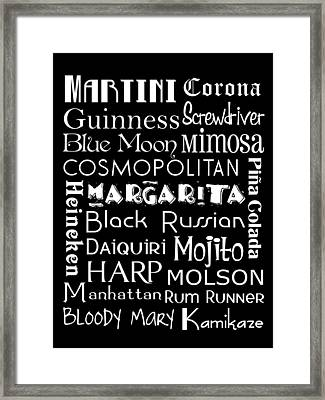 Favorite Drinks  Framed Print