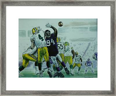 Framed Print featuring the painting Favre Vs The Vikes by Dan Wagner