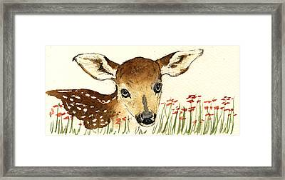 Fawn In The Flowers Framed Print by Juan  Bosco