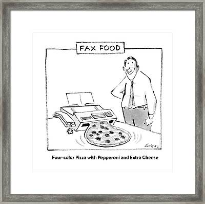 Fax Food 'four-color Pizza With Pepperoni Framed Print by Lee Lorenz