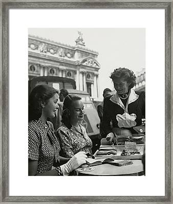 Fay Caulkins And Payne Payson Sitting At Cafe Framed Print