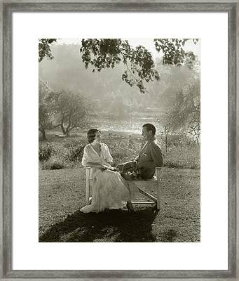 Fay Wray And John Monk Sanders Sitting Framed Print by Edward Steichen