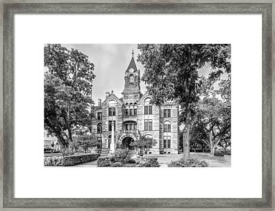 Fayette County Courthouse In Bw Monochrome - La Grange Texas Framed Print by Silvio Ligutti