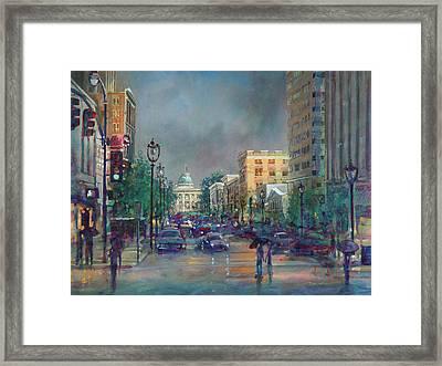 Fayetteville Street First Light Framed Print