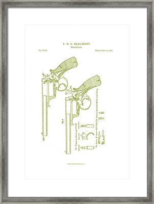 F.b.e Beaumont Revolver Patent Framed Print by Georgia Fowler