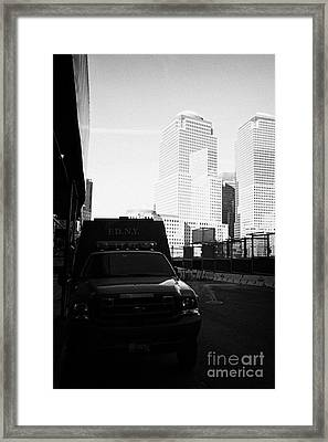 Fdny Fire Tender Parked Outside Liberty Street Ground Zero New York City Framed Print by Joe Fox