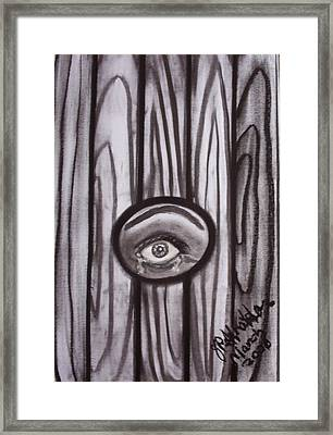 Fear - Eye Through Fence Framed Print