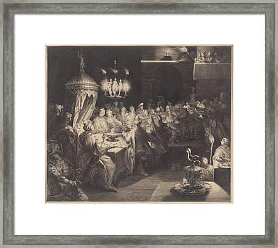 Feast Of Belshazzar Framed Print by Jan Harmensz. Muller