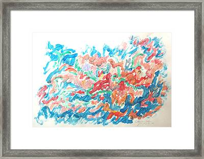 Framed Print featuring the painting Feast Of Blue And Red by Esther Newman-Cohen
