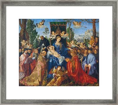 Feast Of Rose Garlands Framed Print by Albrecht Durer
