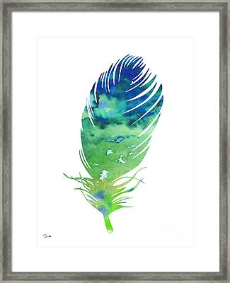 Feather 3 Framed Print by Watercolor Girl
