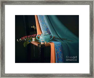 Feather And Threads Framed Print by Barbara Groff