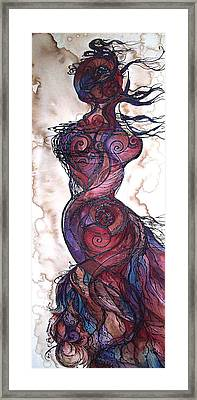 Framed Print featuring the painting Feather Flow by Christy  Freeman