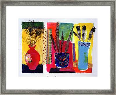 Feathered Triptych Framed Print by Diane Fine