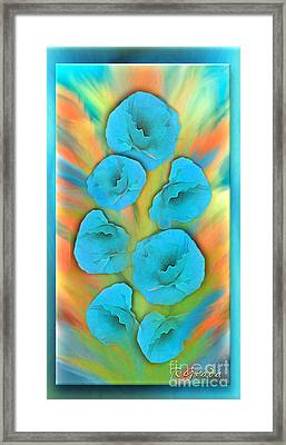Feathered Turquoise Poppies Framed Print
