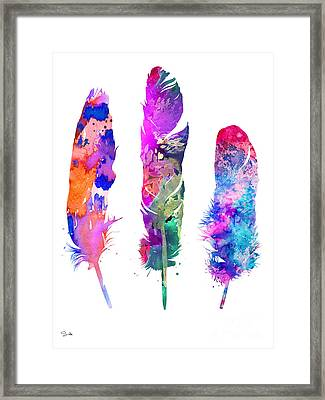 Feathers 3 Framed Print by Watercolor Girl