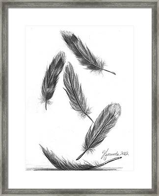 Framed Print featuring the drawing Feathers For A Friend by J Ferwerda