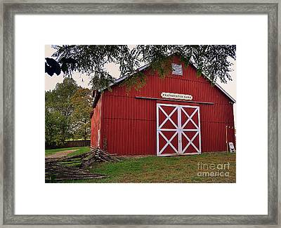 Featherstone Red Barn Framed Print
