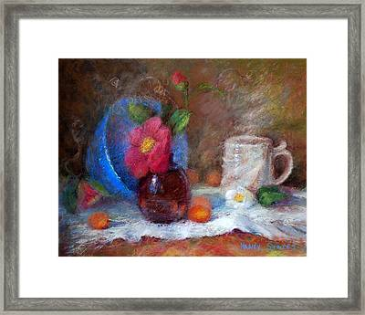 Featured Blue Bowl   Framed Print by Nancy Stutes