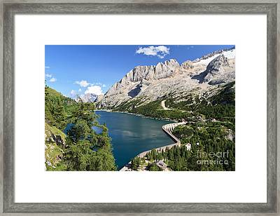 Framed Print featuring the photograph Fedaia Pass With Lake by Antonio Scarpi
