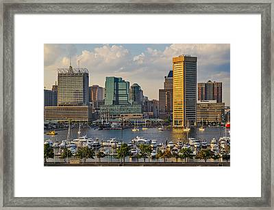 Federal Hill View To The Baltimore Skyline Framed Print by Susan Candelario