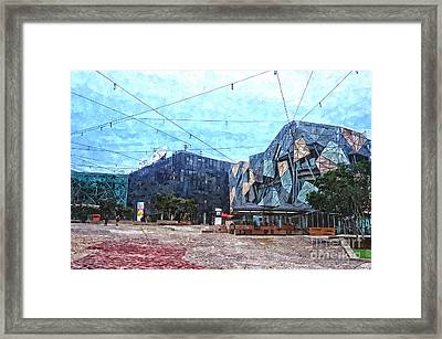Federation Square In Melbourne Australia Framed Print by Beverly Claire Kaiya