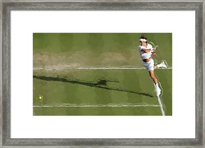 Federer Passing Shot Framed Print by Brian Menasco