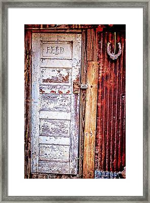 Feed Room Door Framed Print by Kelly Kitchens