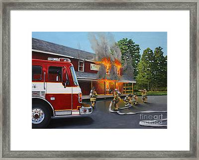 Feed Store Fire Framed Print by Paul Walsh