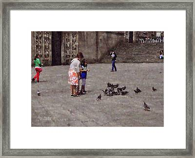 Feeding Pigeons In Santiago De Compostela Framed Print by Mary Machare