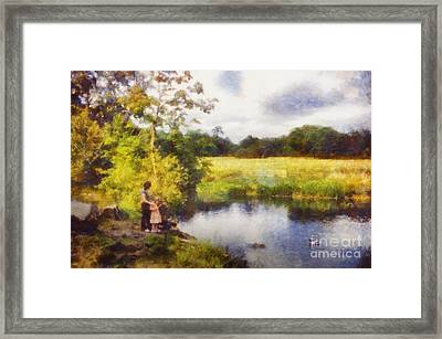 Feeding The Ducks Framed Print by Pixel Chimp
