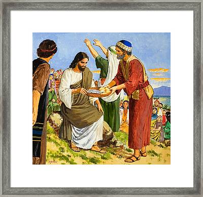 Feeding The Five Thousand Framed Print by Clive Uptton