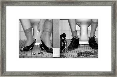 Feet In Toilet Stalls Framed Print