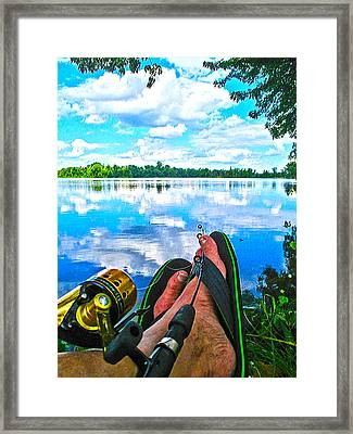 Feet Up Fishing Crab Orchard Lake Framed Print