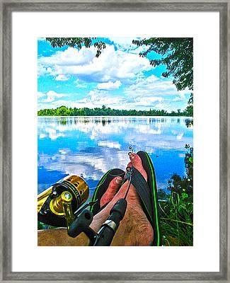 Feet Up Fishing Crab Orchard Lake Framed Print