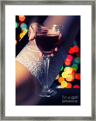 Feet With Wine Framed Print