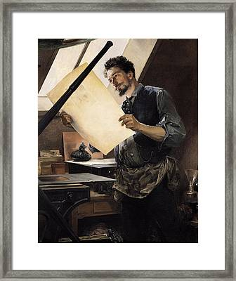 Felicien Rops 1833-98 In His Studio Oil On Canvas Framed Print by Paul Mathey