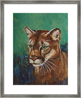 Framed Print featuring the painting Feline Alert by Margaret Saheed