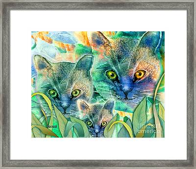 Framed Print featuring the painting Feline Family by Teresa Ascone