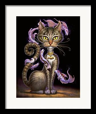 Feline Digital Art Framed Prints